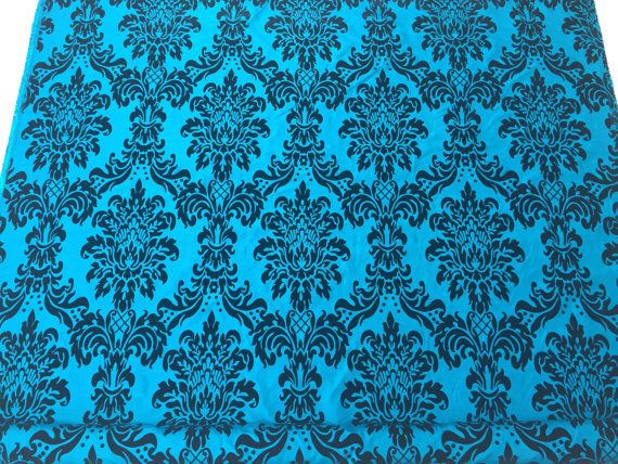 Teal blue taffeta fabric Black velvet flock by TheFabricShopUK