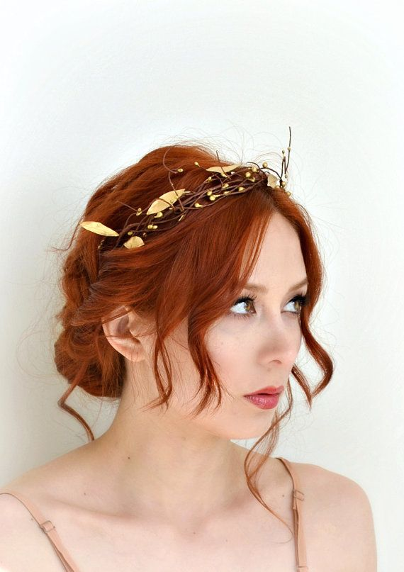 Leaf crown golden bridal crown grecian goddess by gardensofwhimsy