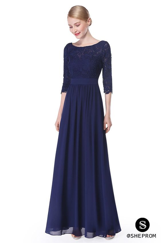 a3cc3db6a402 Only $66, Elegant Navy Blue 3/4 Sleeve Lace Long Evening Dress #EP08412NB  at #SheProm. SheProm is an online store with thousands of dresses, range  from Prom ...