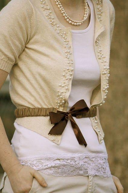 pearl embellished cardigan