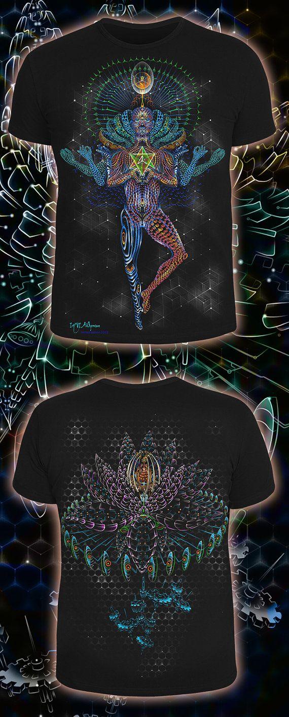 Black light t shirt ideas - G Nie De L Esprit Psych D Lique En Coton T Shirt Glow Uv Lumi Re Noire Fractales Fluorescent Dj Party Club Psy Trance M Ditation Lsd Goa