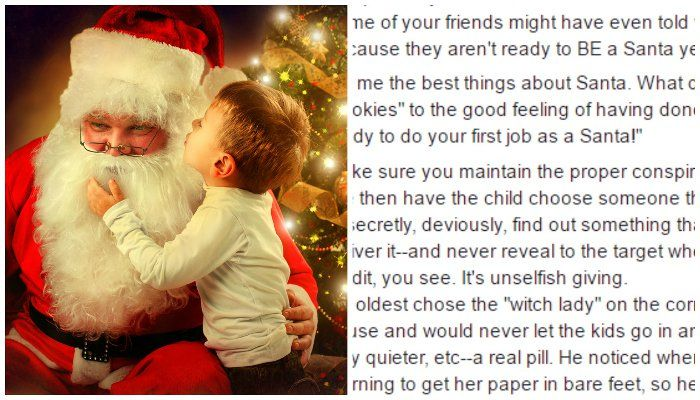 "How to transition your child from ""receiving from Santa"" to ""Becoming a Santa"". This is absolutely wonderful."