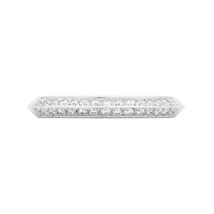 Wedding Bands Collection // Rohan Jewellery // A handcrafted platinum french curve band set with round brilliant cut diamonds.