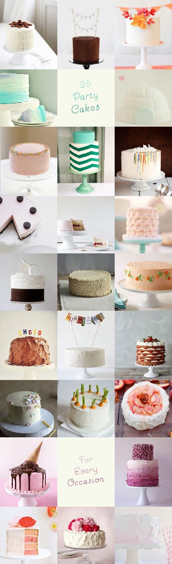 25 Pretty Party Cakes - favourites being the purple ombre one, the ice cream one and the chevron one :)