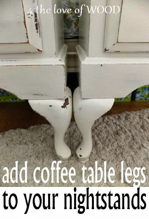 Furniture Makeover tip~ Adding Coffee table legs to your nightstands