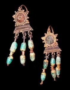 Ancient Roman Earrings A wonderful pair of ancient roman earrings, gold with glass insets and glass beads. 2nd-4th century AD.