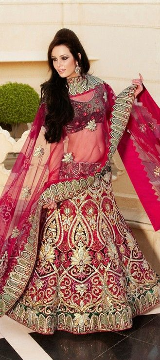100198, Wedding Lehngas, Net, Zardozi, Machine Embroidery, Cut Dana, Resham, Zari, Thread, Stone, Zircon, Pink and Majenta Color Family
