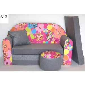 KIDS SOFA BED FUTON CHILDS FURNITURE+FREE POUFFE/FOOTSTOOL (A12)