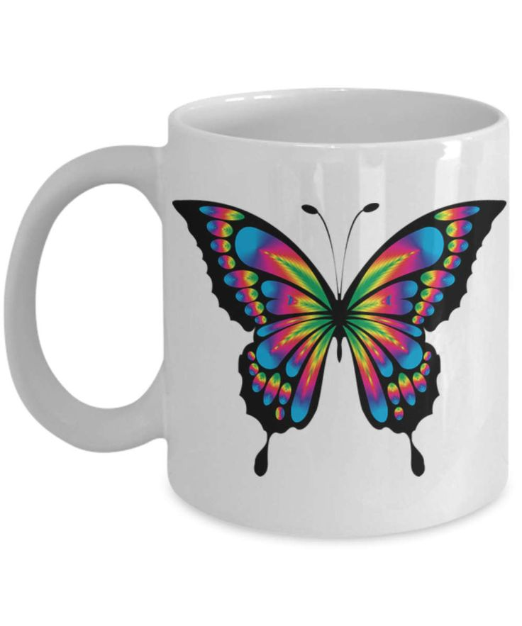 Butterfly Coffee Mug, Butterfly Mug, Mug with butterfly, Butterfly on Mug, colorful butterfly mug, ceramic travel mug.  Makes a great gift! by BearHugBoutique on Etsy