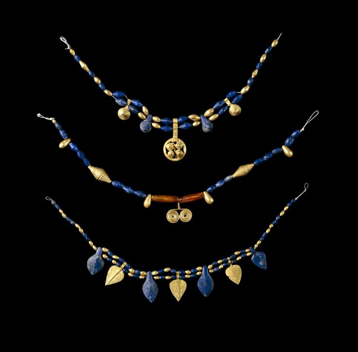 Lapis lazuli and gold necklaces from the Ancient Tombs of Ur.