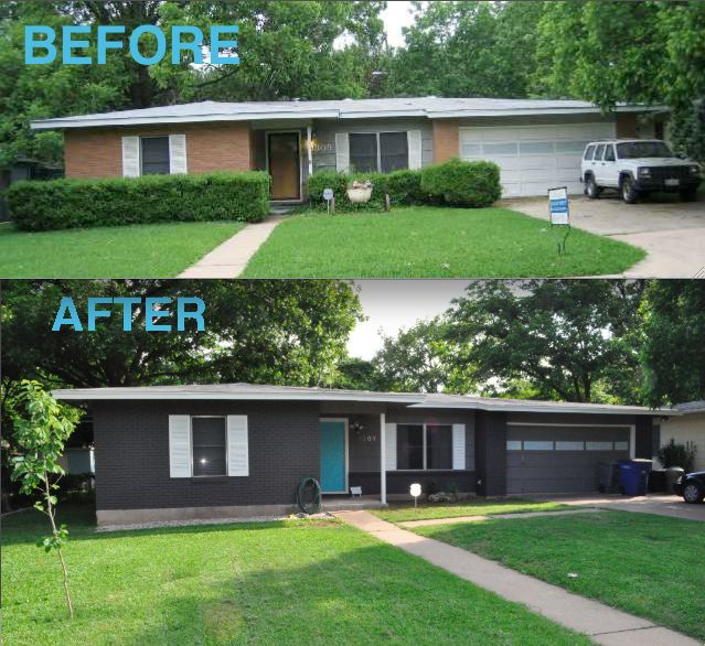 what a difference paint makes before and after shakerdesigns tags ranch blue white house modern grey paint exterior gray atomic midcentury