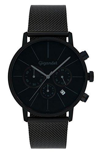Gigandet Herren-Armbanduhr Minimalism Quarz Chronograph Uhr Datum Analog Edelstahlarmband Schwarz G32-008 - http://uhr.haus/gigandet/gigandet-herren-armbanduhr-minimalism-quarz-uhr