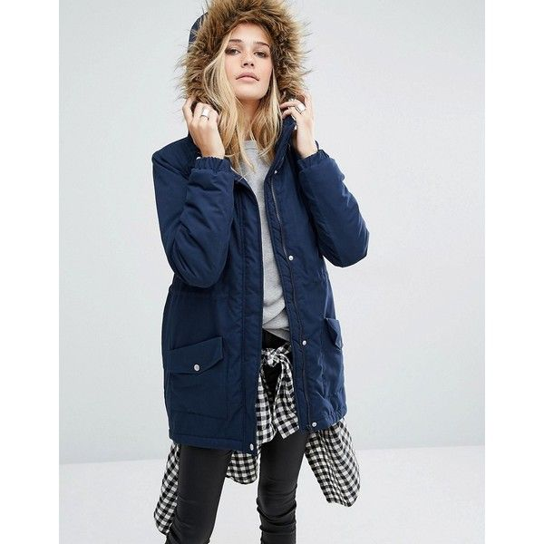 Noisy May Festival Faux Fur Parka ($57) ❤ liked on Polyvore featuring outerwear, coats, navy, dkny hooded faux-fur-trim parka coat, tall coats, faux fur trim hooded parka, navy blue parka and navy parka