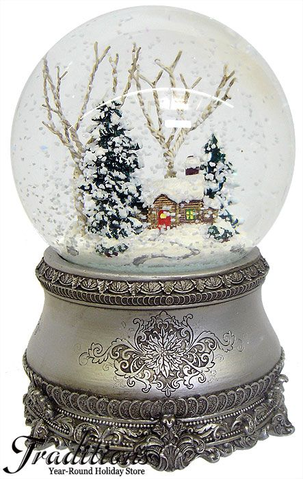 vintage winter snow globe. This kind of snow and scene. not such an ornate base though