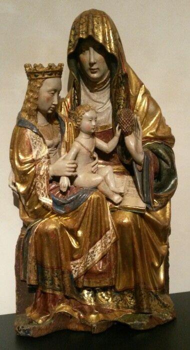 Santa Ana, la Virgen y el Niño. Taller castellano. Madera policromada. Inicios siglo XVI (Museo Nacional de Escultura - Valladolid)