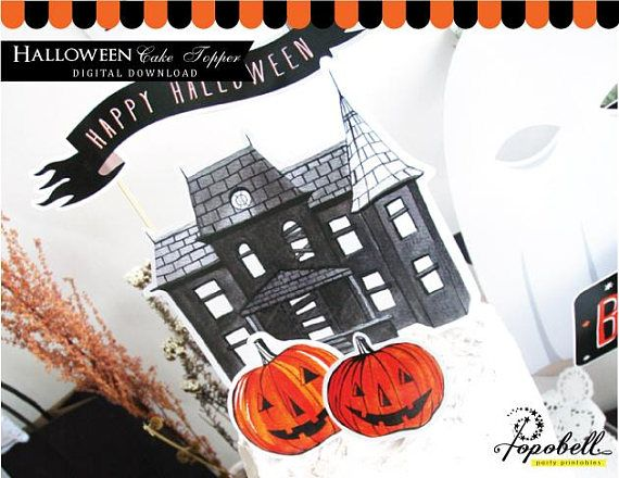 Halloween Cake Topper for Halloween Party. Haunted House Cake