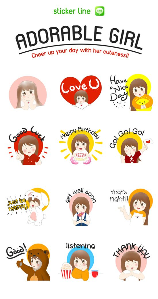 Cheer up your chat room with her cuteness!! http://line.me/S/sticker/1311404