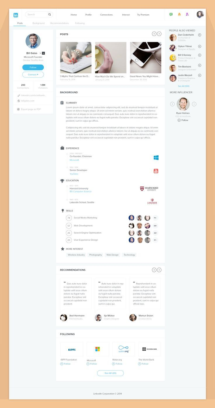 THIS is what LinkedIn *should* look like. Beautiful, sleek and professional.  Linkedin by Bluroon