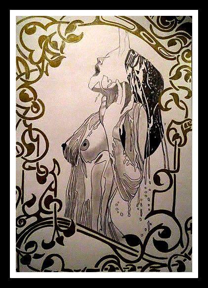 Nude Art Original Drawing Aquarius by Figurative on Etsy