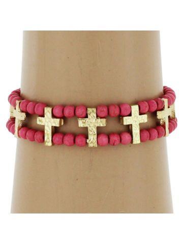 $4.50 Pink Beaded Hammered Goldtone Cross Stretch Bracelet