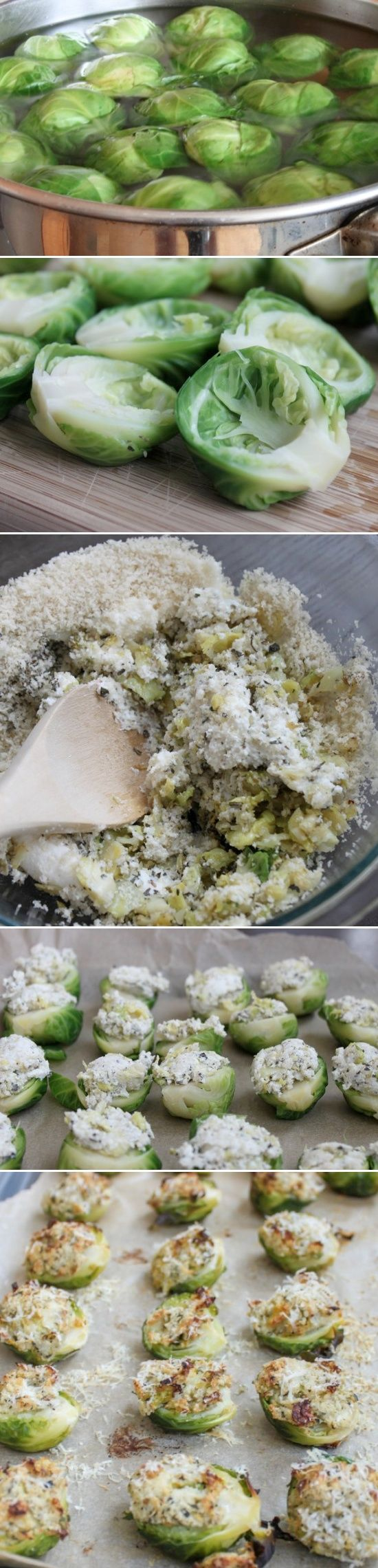 Herb Parmesan Stuffed Brussels Sprouts @Jacky Gaer you should make these
