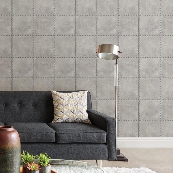 2604-21252 Silver Industrial-Tile - Riveted - Wallpaper by Beacon House