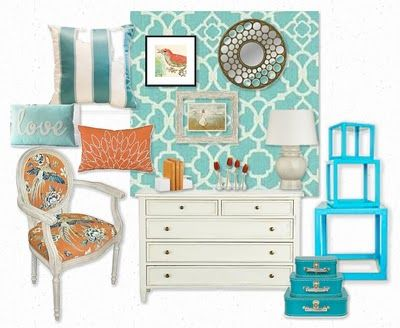 Turquoise & Coral room design