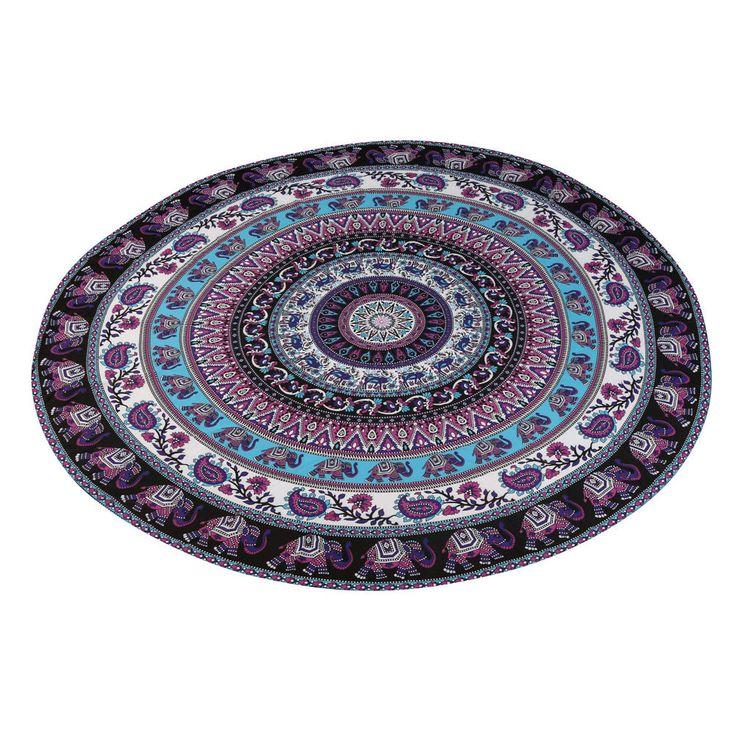 Purple Elephant Print Round Hippie Tapestry Beach Throw Mandala Towel Table Picnic Mat Shawl Fashion Chiffon