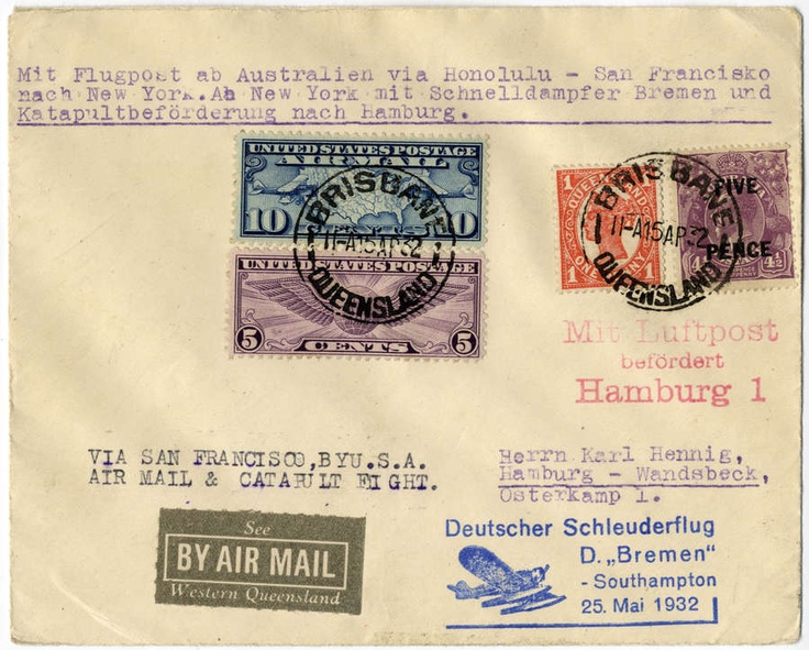 1932 - Australia / Steamship Bremen-Southampton 25.05.: Cover with Australian and American stamps, both cancelled Brisbane, Queensland, forwarded via USA (day cancel Ferry Station) to Hamburg (arrival and airmail cancellation). One of the three known covers. (HA 80 AUS)