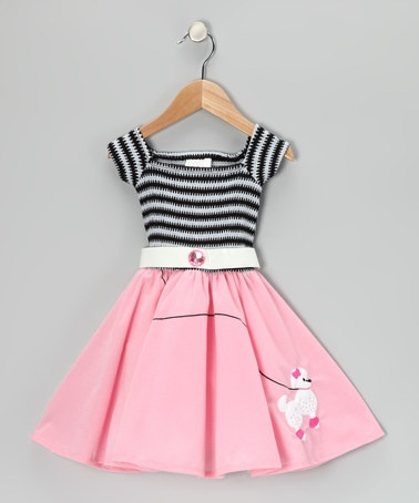 For Kim.   Toddler 50's dress!  Take a look at this Rubie's Pink Stripe 50's Girl Dress - Toddler by Rubie's on #zulily today!