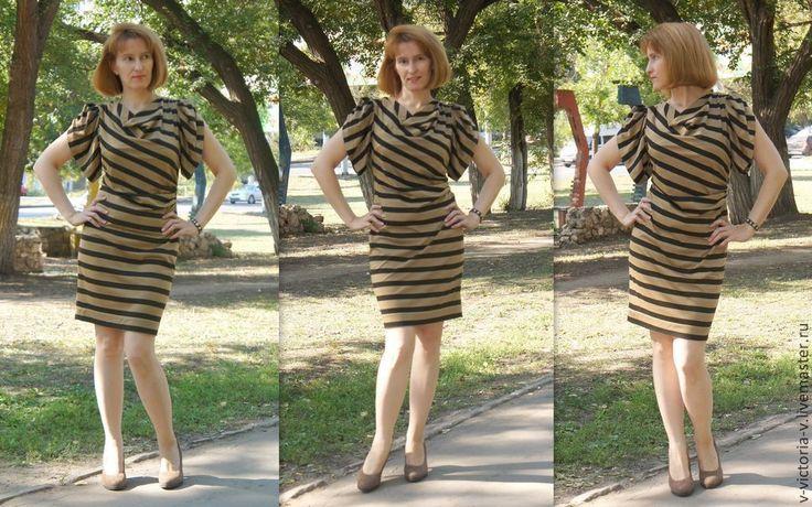 """Купить Платье """"Кофейно-шоколадный микс""""... - коктельное платье, повседневное платье, кофейный, трикотаж"""