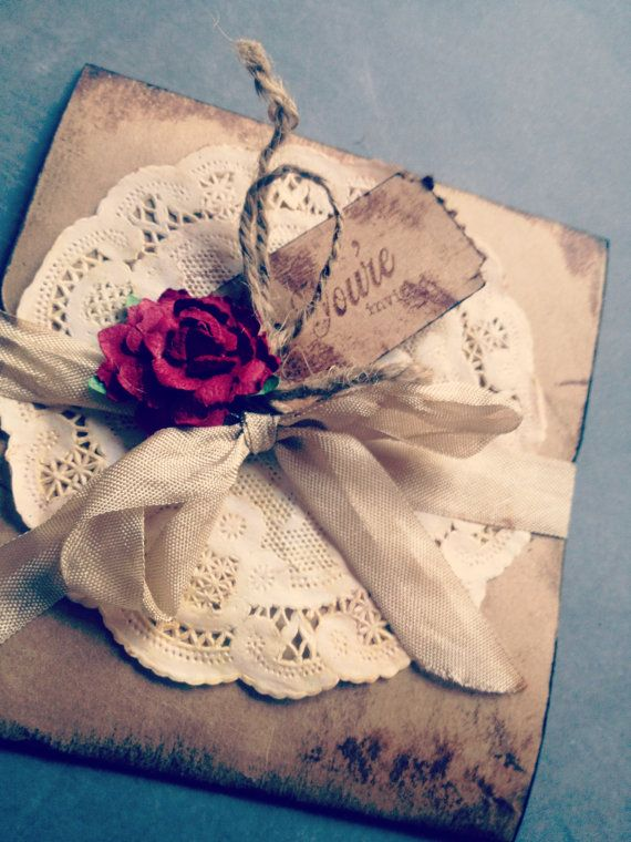 Vintage Wedding Invitation Red Rose by ShabbyScrap on Etsy Nice idea for invitations... no red rose, pearl detailing instead?
