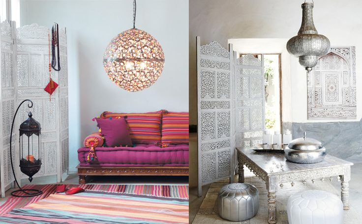 Ook bij ons kan je heel wat Marokkaans geïnspireerde meubels en decoratie kopen. Vaak worden de kleuren nog uitbundiger genomen om nog meer op te vallen. De zilverkleurige poef van Maison Du Monde is hier een mooi voorbeeld van.