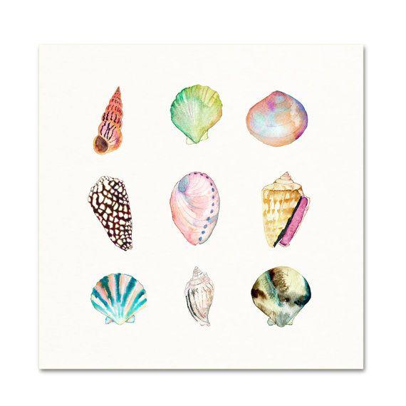 Sea Shell Collezione acquerello stampa. Beach di SnoogsAndWilde