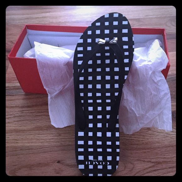 21ddd486d044d0 Coach Flip Flops size 11 Black   white gingham Coach Flip Flops. Size 11.