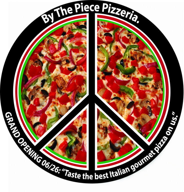By The Piece Pizzeria. Direct Mail brochure I created