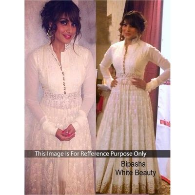 Bipasha basu White Georgette Bollywood Anarkali suit with White Color Santoon Bottom With White color Pure Dupatta, Santoon  Inner.It contained the work of Embodery Work with Lace border.The Salwar Suits Which can be customzied up to bust size 42