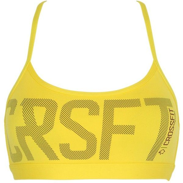 Reebok Women Crossfit Tech Jersey Sports Bra ($75) ❤ liked on Polyvore featuring activewear, sports bras, yellow, spaghetti strap sports bra, yellow sports bra, racer back sports bra, reebok activewear and reebok sportswear