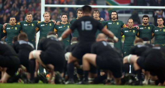 Mandatory Credit: Photo by Kieran Galvin/REX Shutterstock (5294026bn) South Africa's players looking at New Zealand doing The Haka IRB Rugby World Cup 2015 Semi_Finals Match 45, South Africa v New Zealand Twickenham Stadium, London , Britain - 24 Oct 2015 /Rex_IRB_Rugby_World_Cup_2015_SemiFinals_Match_45_5294026BN//1510250012
