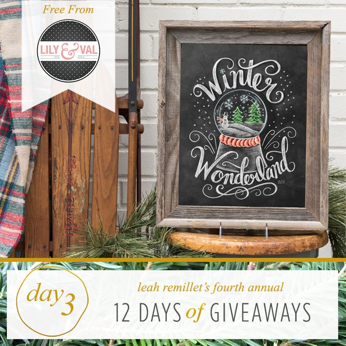 FREE Winter Wonderland chalk art download by Lily & Val as part of the 12 Days of Giveaways