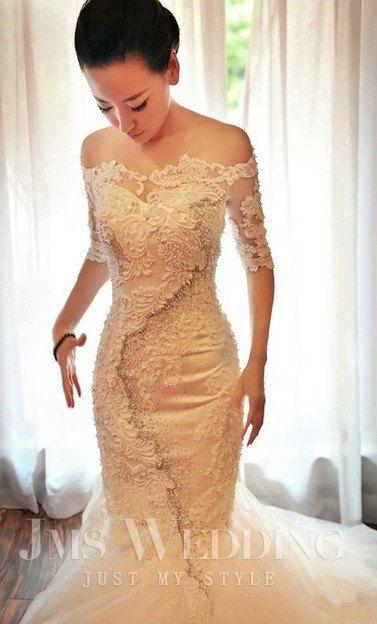 luxurious wedding gown mermaid wedding dress with by JMSWEDDING