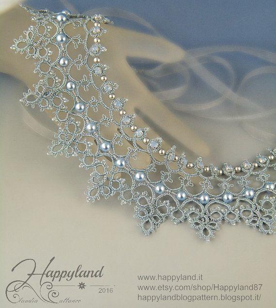 Cinderella necklace , needle tatting kit and pattern