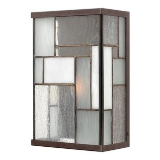 Hinkley Lighting - Hinkley Lighting Mondarian Transitional Outdoor Wall Sconce X-ZK0512 - The geometric mosaic of the Hinkley Lighting Mondarian Transitional Outdoor Wall Sconce is inspired by the paintings of modern master, Piet Mondrain. This transitional outdoor wall sconce blends seedy glass, water glass and art glass in a brass and aluminum frame with a buckeye bronze finish. The simple rectangular shape lets the glass patterns be the standout.