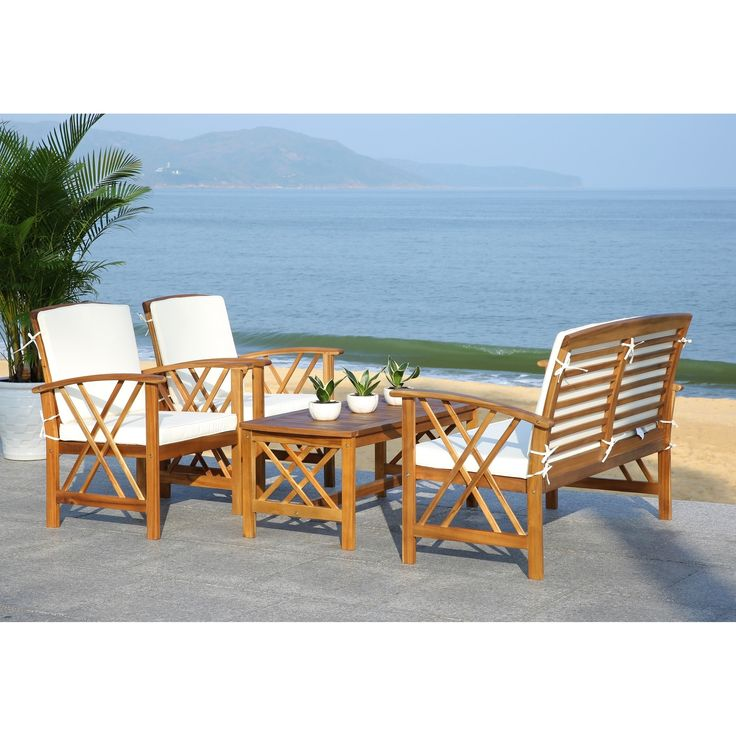 Elegant Safavieh Fontana Teak Finish Beige Acacia Wood 4 Piece Outdoor Furniture  Set (PAT7008A), Size 4 Piece Sets, Patio Furniture Part 18