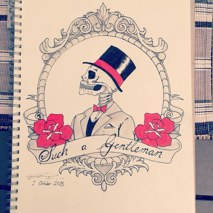 """""""Such a Gentleman"""" a vintage frame design with a bit of old school flavour into it. Hope everybody likes it #vintage #frame #skeleton #oldschooltattoo #suitup #classy #tattoo #ink #tattoos #art #artwork #sketch #sketching #draw #drawing #roses #tophat"""