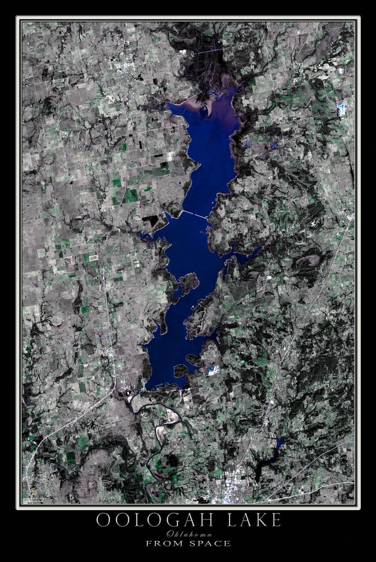 Oogolah Lake Oklahoma Satellite Poster Map 369