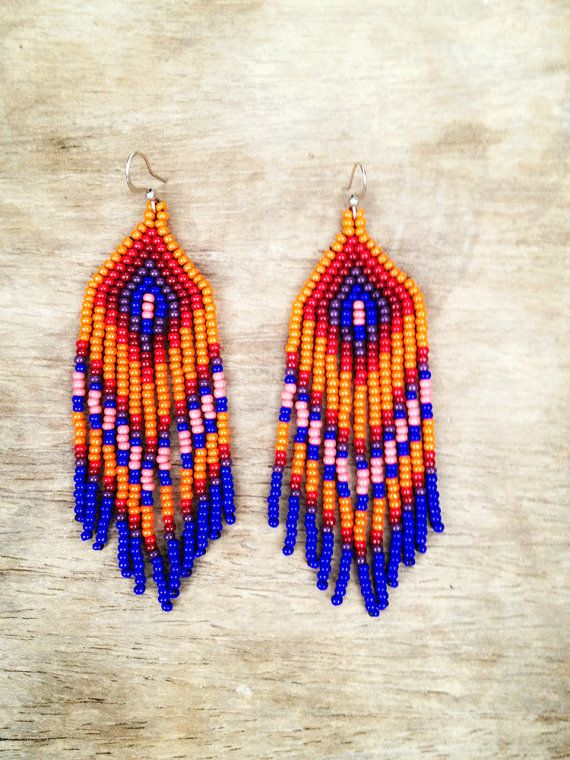 Fringe beaded earrings native inspired by ziguidi on Etsy, $35.00