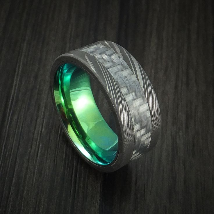 damascus steel and carbon fiber ring custom made band with