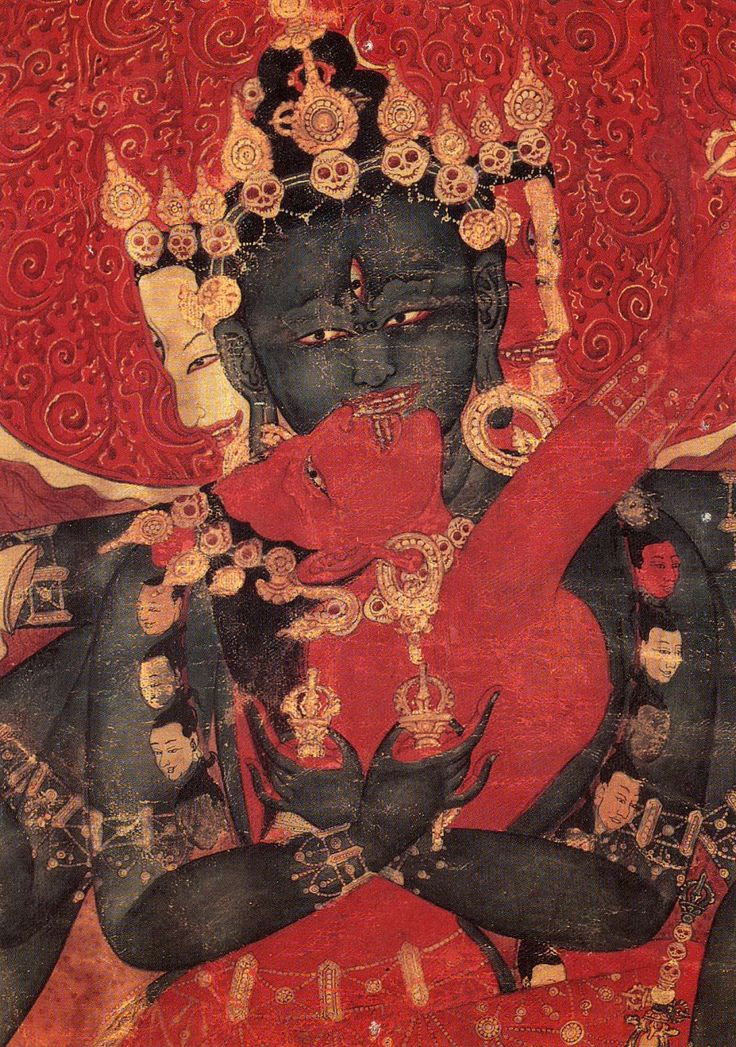 The Wheel of Bliss Mandala (detail). Paramasukha and Chakrasamvara in divine embrace is the union of great bliss and emptiness, which are one and the same essence. Tibetan Tangka, Gouache on cotton. late 15th-early16th C.  Private Collection