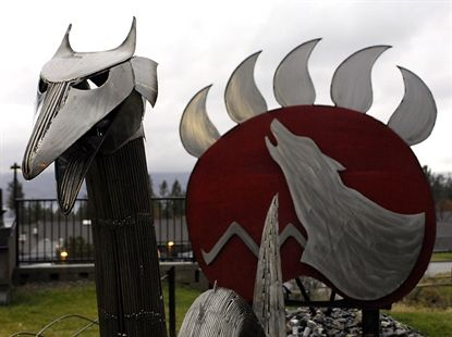 An art installation by Clint George at the Westbank First Nations Community Services Centre.